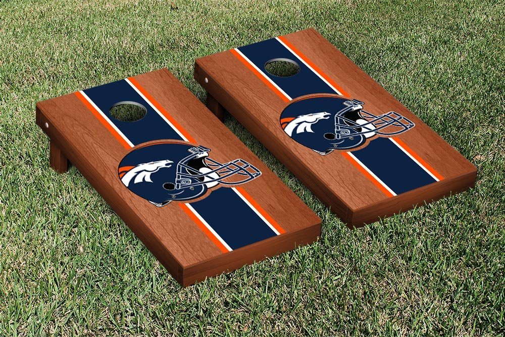 NFL Denver Broncos Rosewood Stained Stripe Version Football Cornhole Game Set, 24'' x 48'', Multicolor