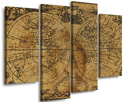 Brown Yellow Two Spherical World Map Canvas Print Home Decoration Art Wall  Ready to Hang With Frame 4 Panel (30X66cm, 30X89cm)