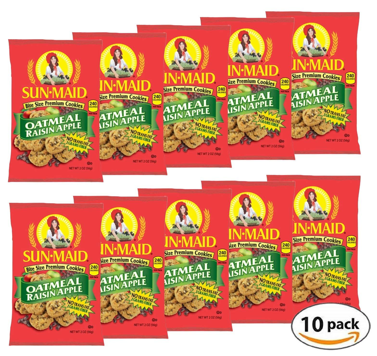 Sun Maid Oatmeal Raisin Apple Bite Size Premium Cookies (Pack of 10). 2 Oz Per Pack (20 Oz Total) by Sun Maid