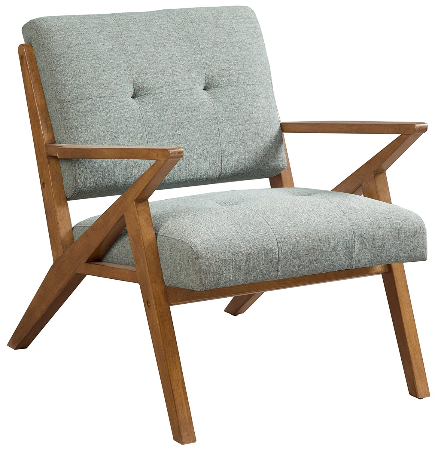 Ink+Ivy IIF18-0058 Rocket Accent Chair Mid Century Modern Tufted Styling, Solid Wood Sturdy Z-Frame Retro Style, Comfortable All Foam, Soft Fabric Bedroom Lounger, Slanted Back and Armrest, Seafoam