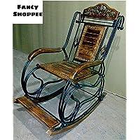 Fancy Shoppee Wooden & Iron Rocking Chair for Garden,Home Decor,Office Decor,Gift Item,Garden Rocking Chair,Balcony Rocking Chair