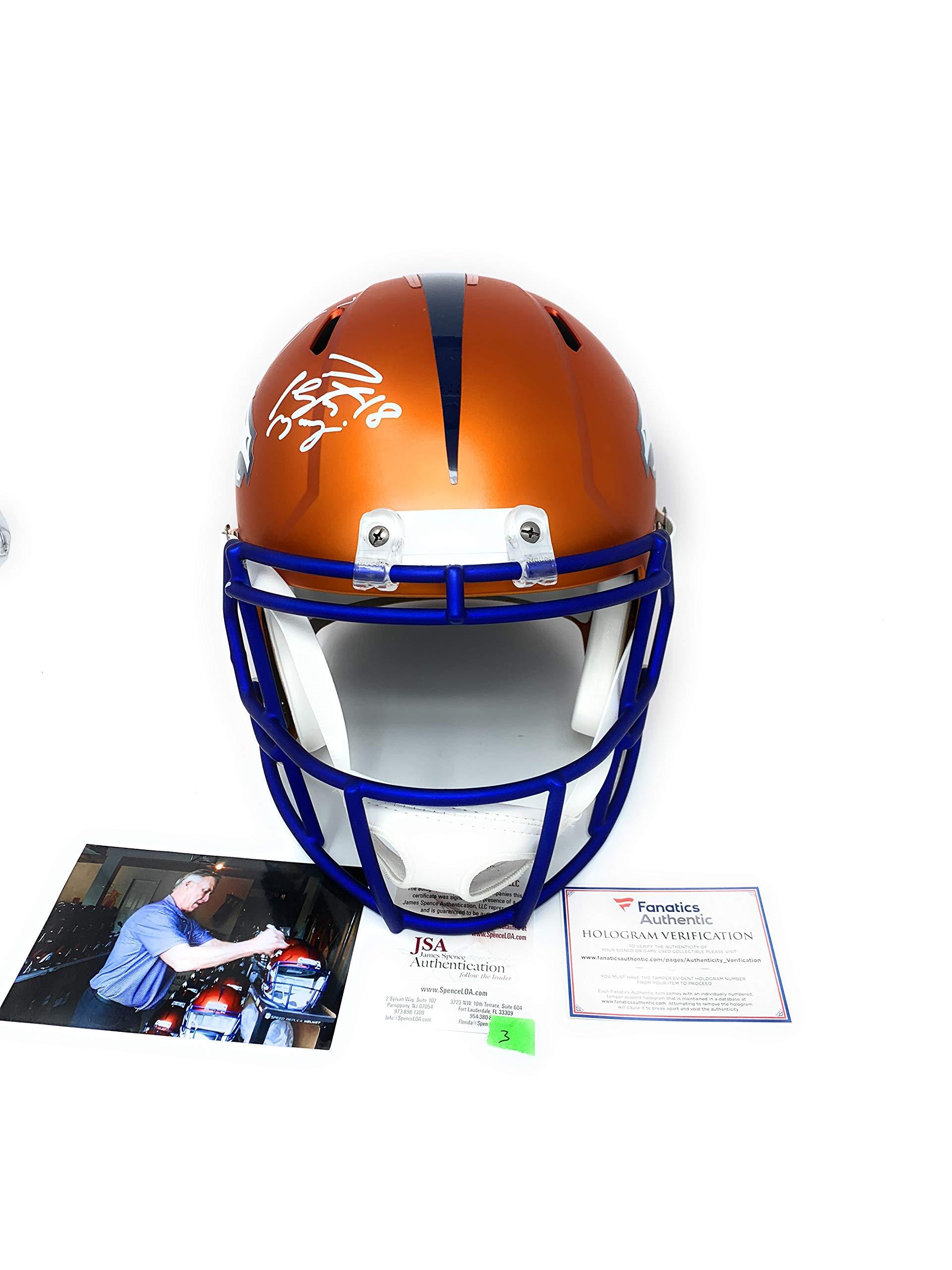 Peyton Manning John Elway Denver Broncos DUAL Signed Autograph Rare BLAZE Speed Full Size Helmet Elway Holo JSA Witnessed Fanatics Authentic Certified #3