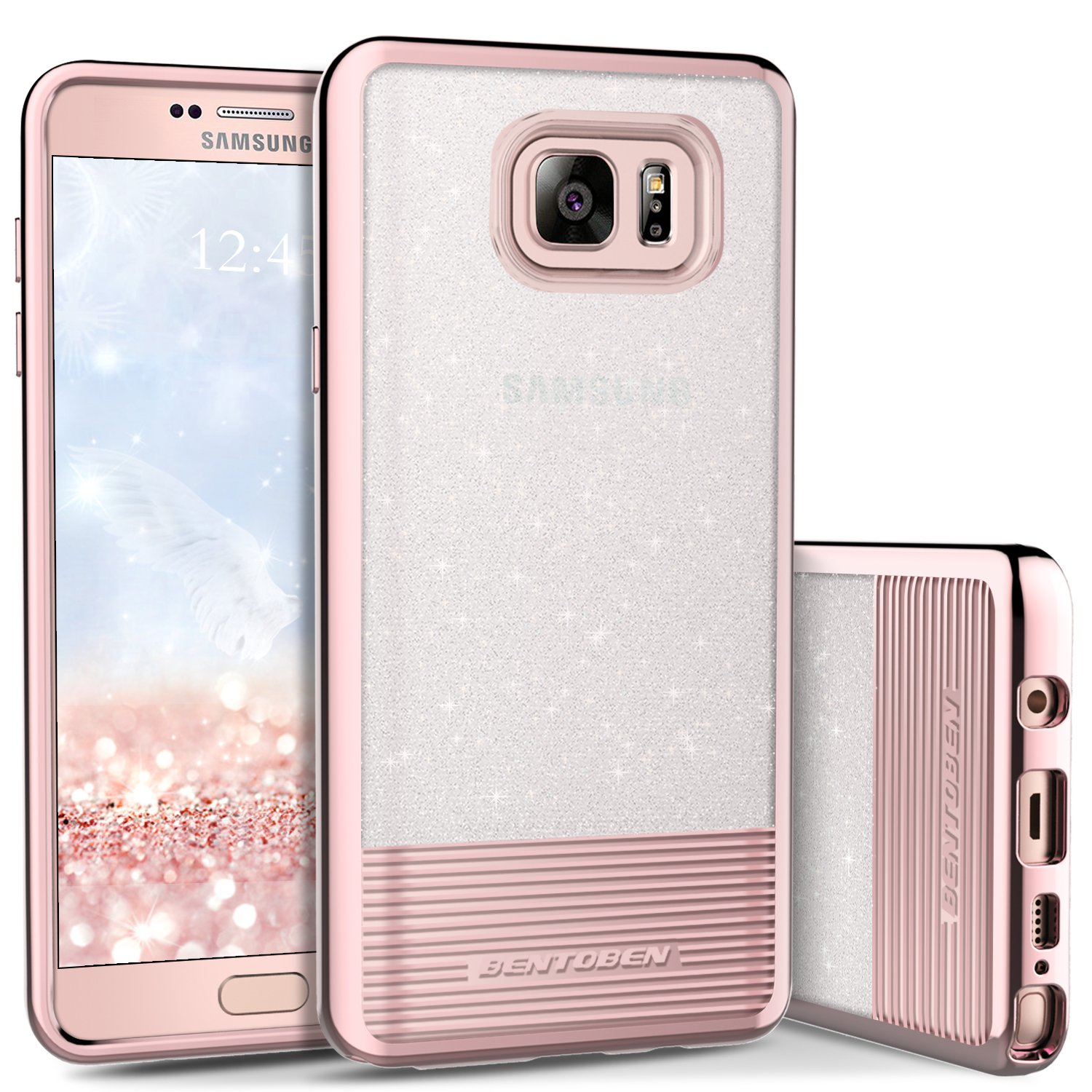Galaxy Note 5 Case, Galaxy Note 5 Phone Case, BENTOBEN Bling Glitter Chrome Stripe Design Hybrid TPU PC Dual Layer Shockproof Slim Protective Phone Case Cover for Samsung Galaxy Note 5 Cute Rose Gold