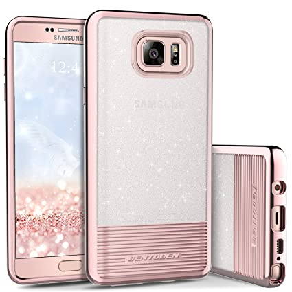 watch 26ca0 767f9 Case for Galaxy Note 5, Phone Case for Galaxy Note 5, BENTOBEN Bling  Glitter Chrome Stripe Design Hybrid TPU PC Dual Layer Shockproof Slim  Protective ...