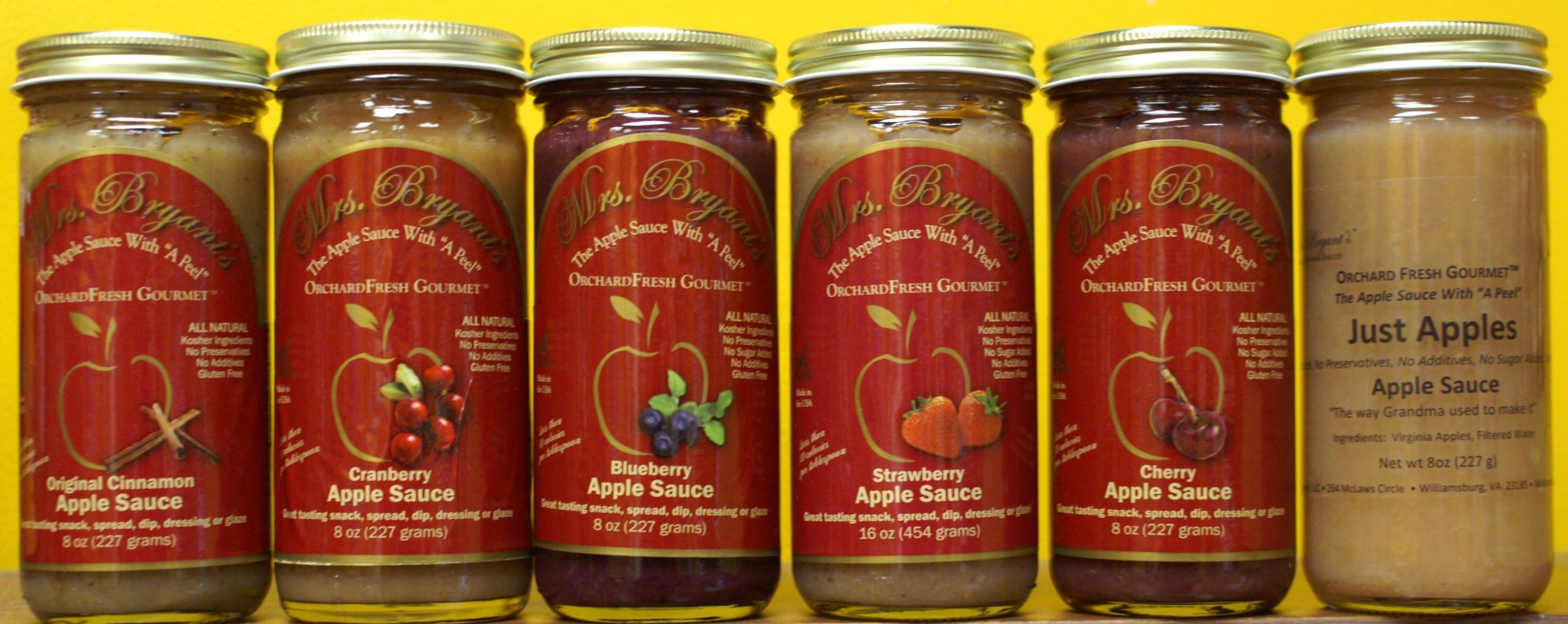 Mrs. Bryant's Orchard Fresh Gourmet Fruit Blended Apple Sauces - 12 Jar Variety Pack - Blueberry, Cherry , Cinnamon, Strawberry, Just Apples (12-8oz jars) ''The Best Apple Sauce Ever in a Jar'' - Washington Post