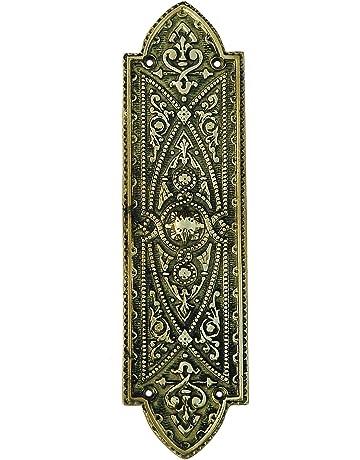 Victorian Brass Finger Plate Push Door Handle Vintage Old Beading Antique