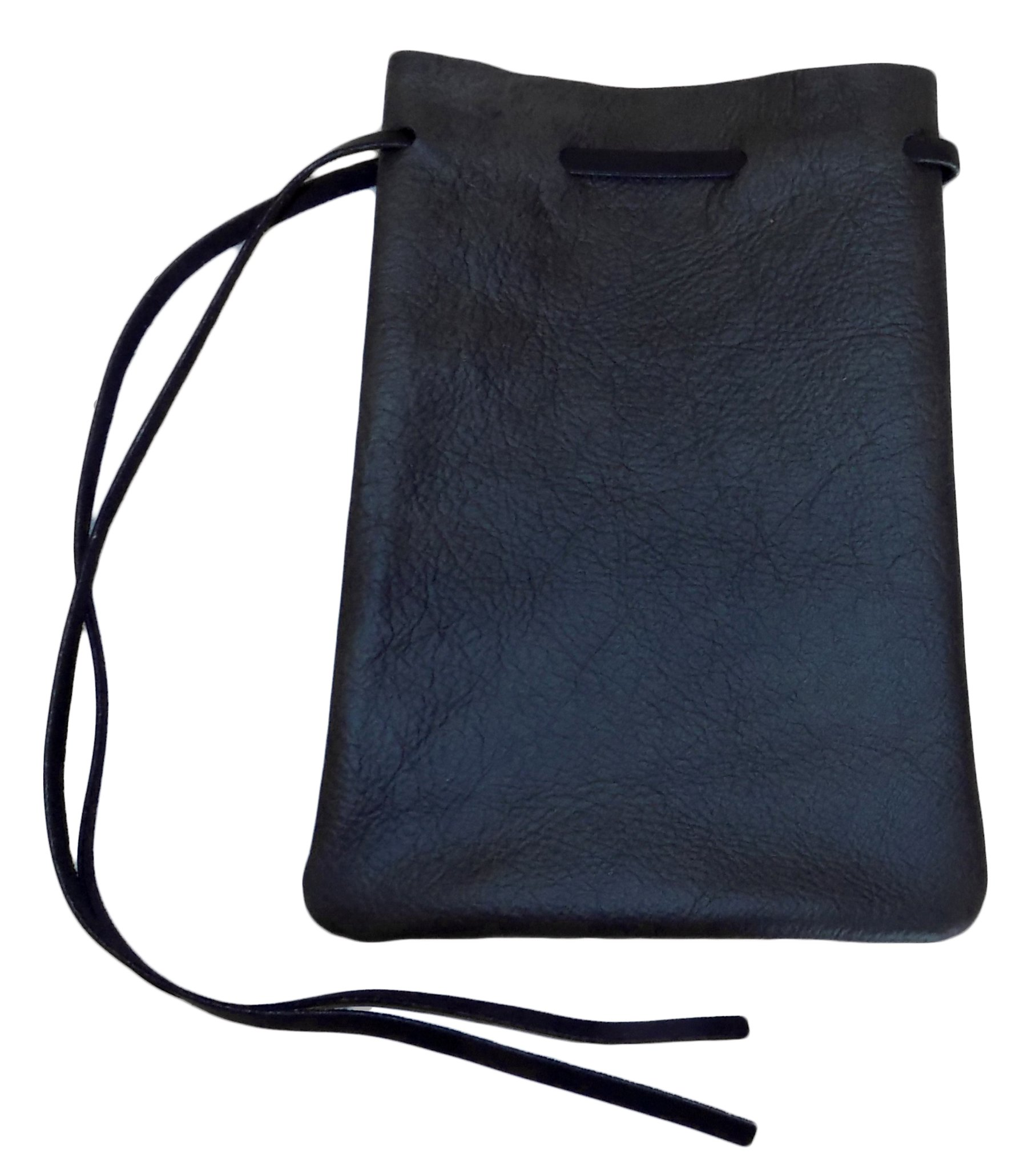 Large Drawstring Leather Pouch (Black)