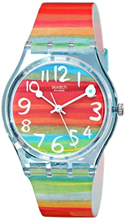 swatch womenus gs quartz rainbow dial plastic watch