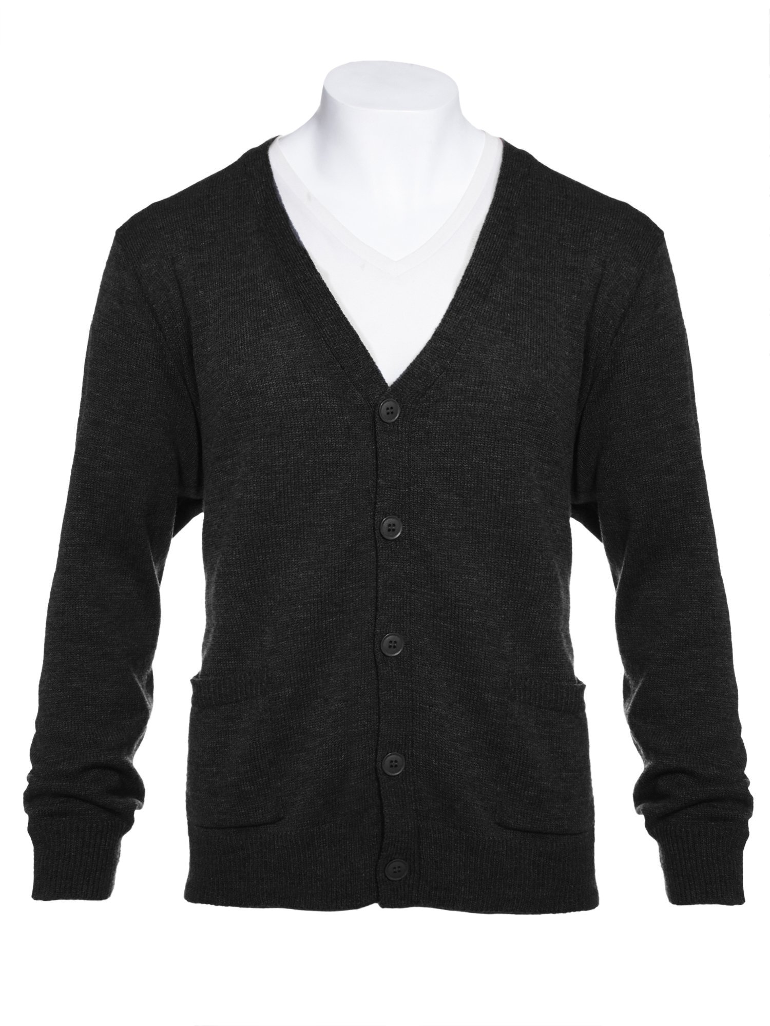 Knit Minded Mens Big and Tall Flat Knit Long Sleeve V-Neck Two Pocket Cardigan Sweater Black 1X