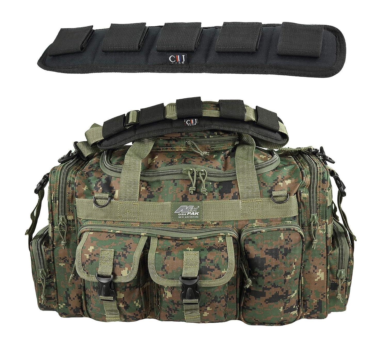 当社の メンズ 18インチ ダッフル メンズ モール タクティカル ギア 旅行バッグ 肩掛け 旅行バッグ with キーリングカラビナ付き B07LGDB6JT Marine Digital with Heavy Duty Molle Shoulder Pad 26