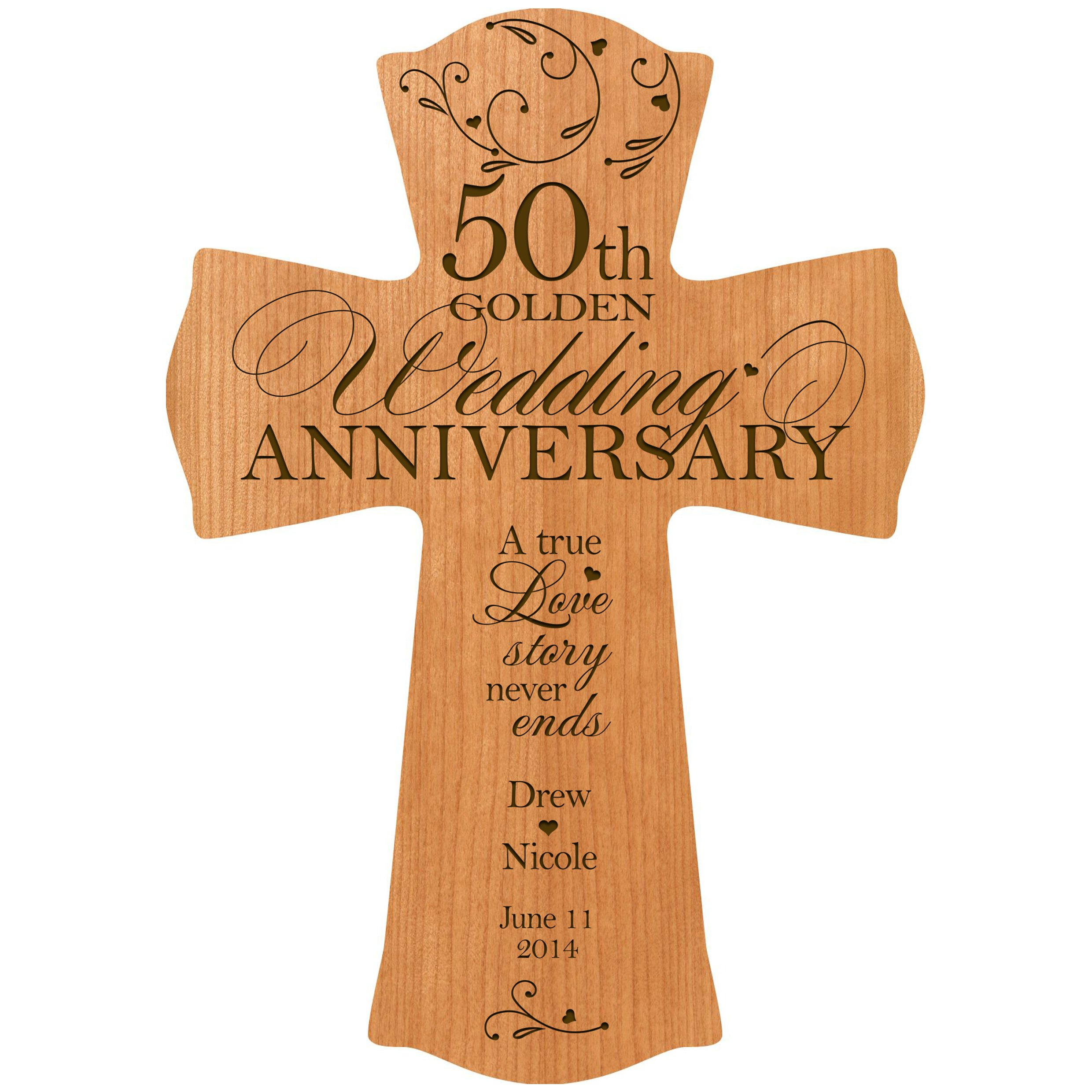 Personalized 50th Wedding Anniversary Wood Wall Cross Gift for Couple 50 Year for Her, for Him A True Love Story Never Ends (8.5'' x 11'', Cherry)