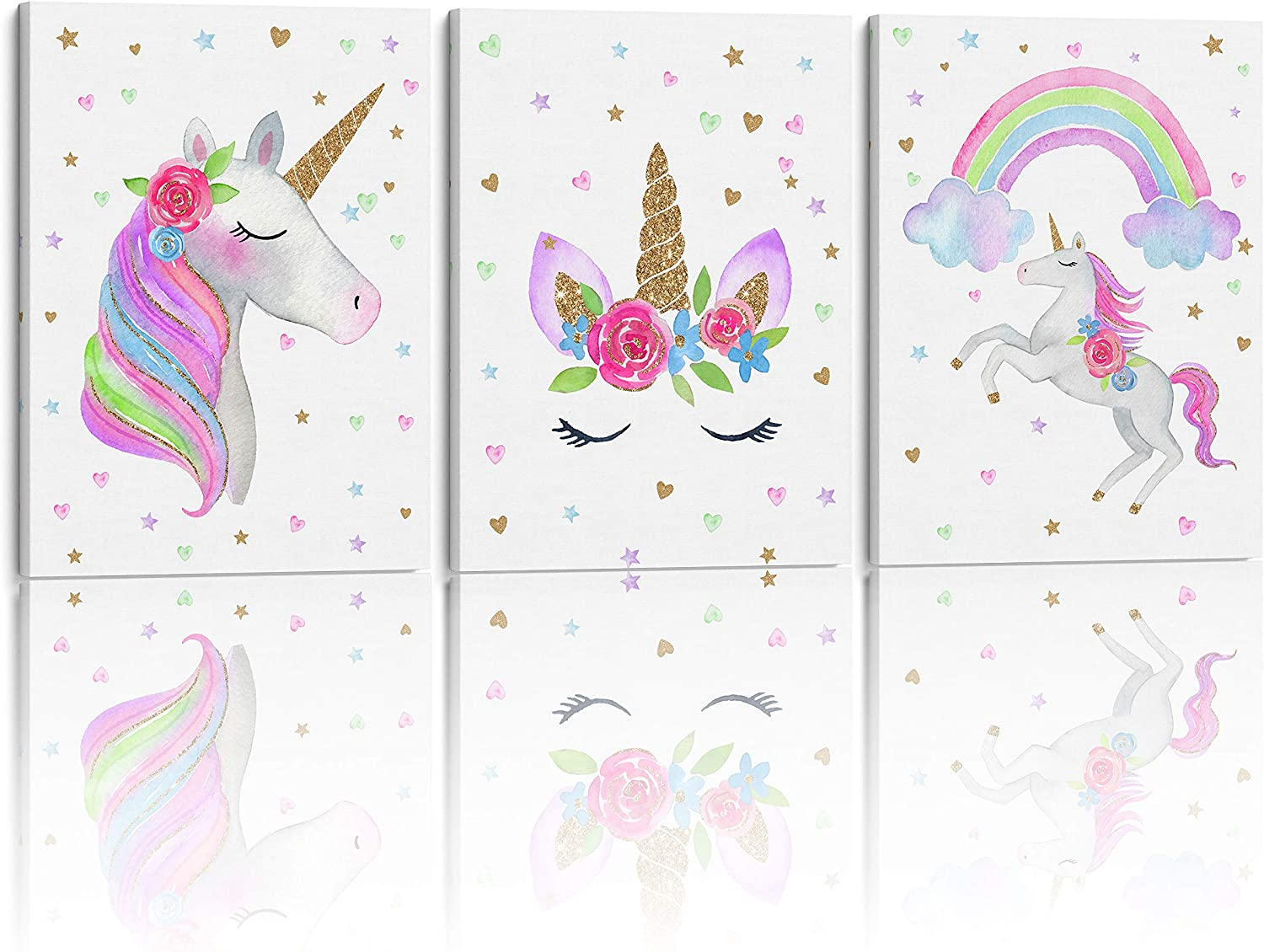Something Unicorn - Stretched/Framed, Ready to Hang Canvas Wall Art for Girl's Bedroom. Super Cute Water Color Unicorn Prints for Nursery or Girls Bedroom Decor. Set of 3. 12x16in - Unicorn