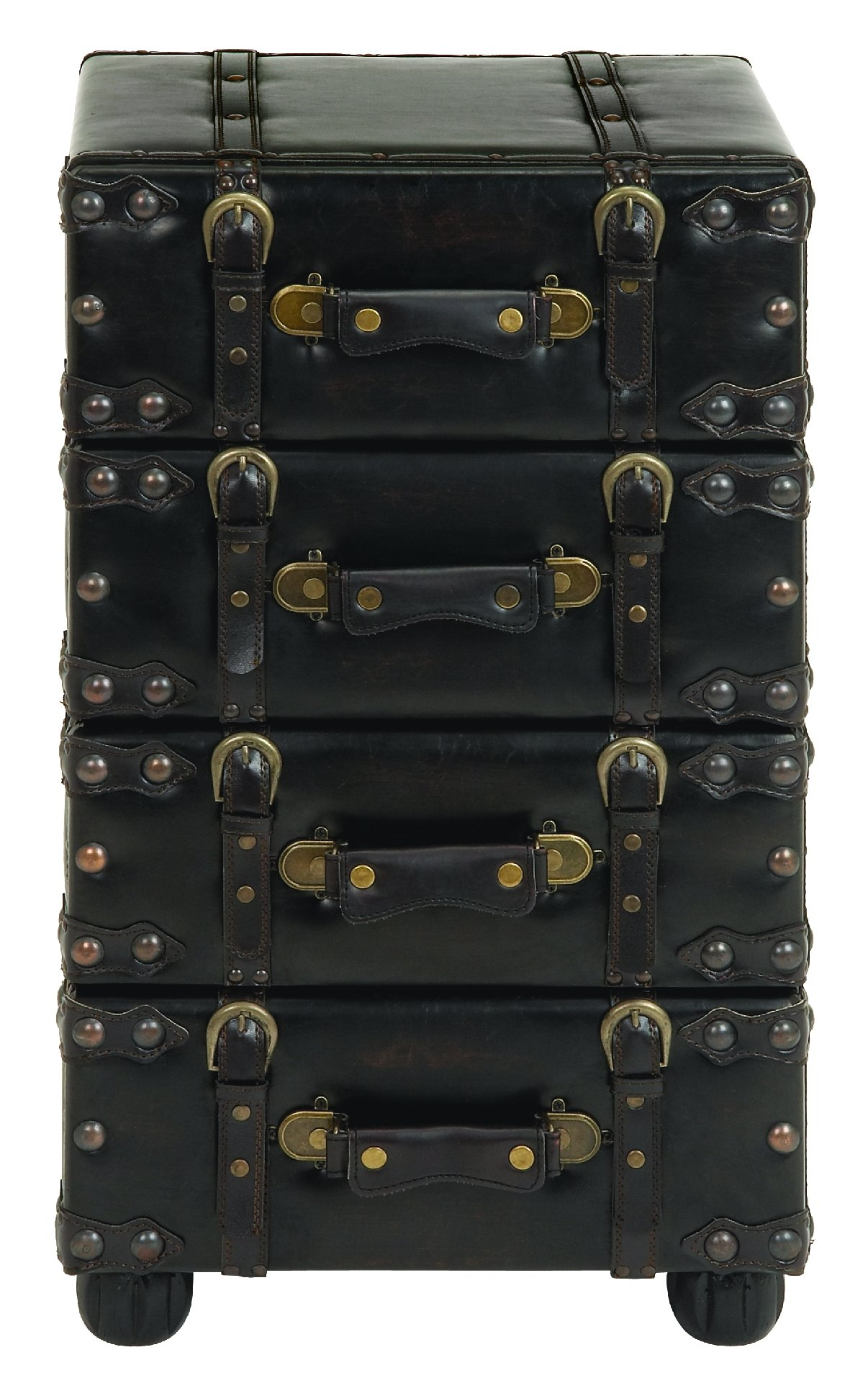 Deco 79 74477 Wood Leather Side Chest, 28 by 16-Inch, Dark Brown