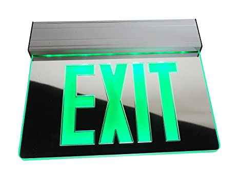 nicor lighting edge lit led emergency exit sign, mirrored with green Emergency Exit Diagram