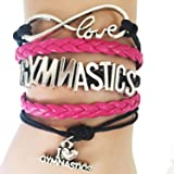 Handmade Infinity Love Gymnastics Bracelet Gift for Sports Teams- Hot Pink with Black