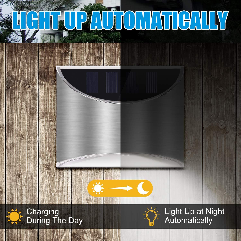 2X Wasserdicht Wandleuchte Solarleuchte Sicherheit Licht Zaunlicht for Terrasse