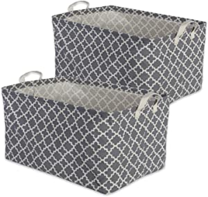 "DII Cotton/Polyester Cube Laundry Basket, Perfect In Your Bedroom, Nursery, Dorm, Closet, 10.5 x 17.5 x 10"", Large Set of 2 - Gray Lattice"