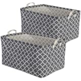 """DII Cotton/Polyester Cube Laundry Basket, Perfect In Your Bedroom, Nursey, Dorm, Closet, 10.5 x 17.5 x 10"""", Large Set of 2 - Gray Lattice"""