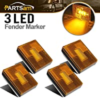 Partsam 4pcs AMBER Square Clearance Side Marker Light Trailer RV w reflex reflector...