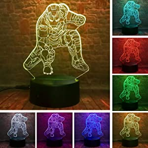 Marvel Legends Hero Iron Man Cool 3D Action Figure Ironman Night Light LED 7 Colors Change Smart USB Touch Baby Boys Bedoom Table Home Decor Creative Child Teenager Fans Birthday Xmas Gifts