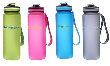 KingCamp 1000ml Botella de Agua Boca Ancha Anti Fuga TRITAN Libre BPA Tapón a Prueba de