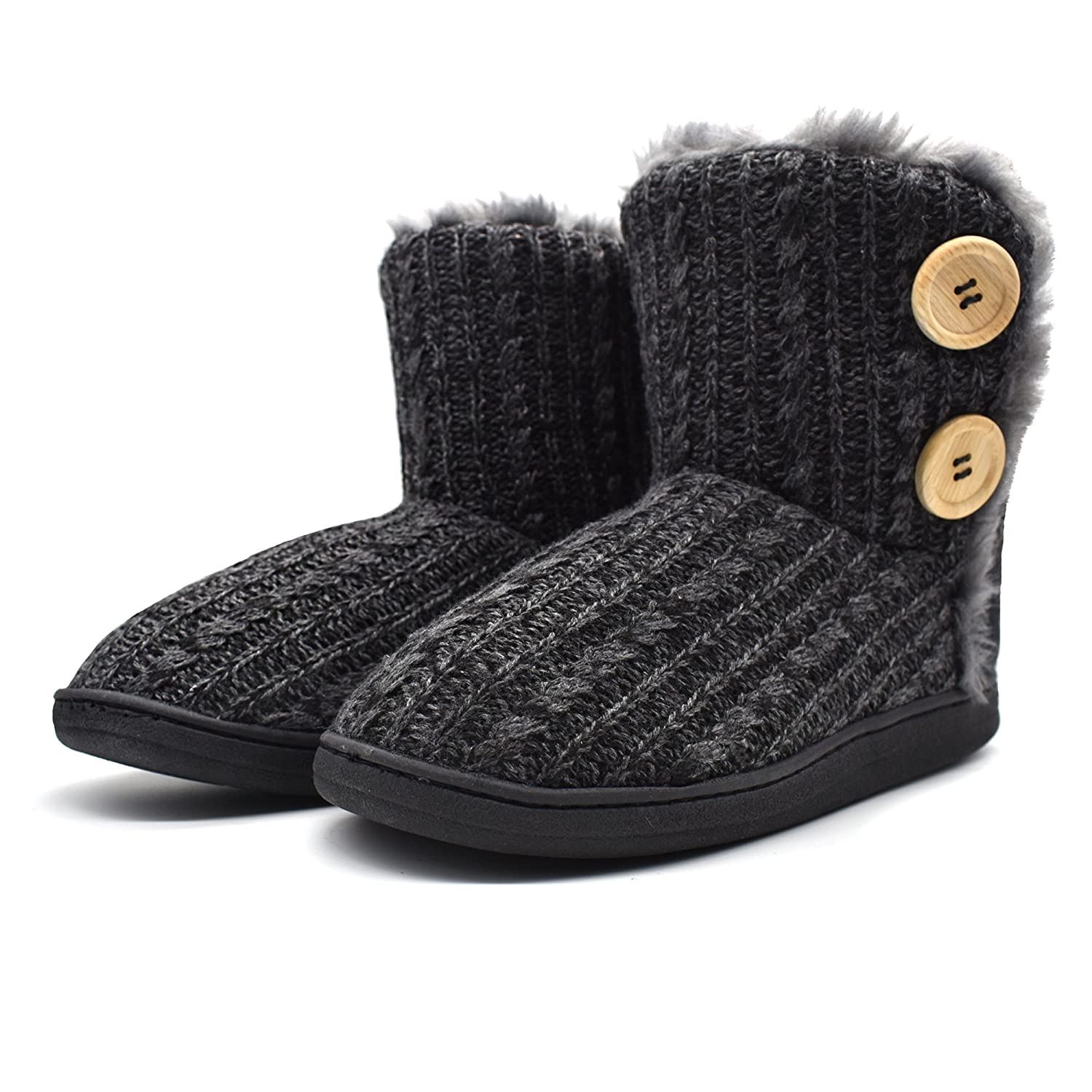fe25157bf3b8c ONCAI Fluffy Faux Fur Slipper Boots Women Soft Cozy Memory Foam Midcalf  Booties Indoor House Pull on Shoes