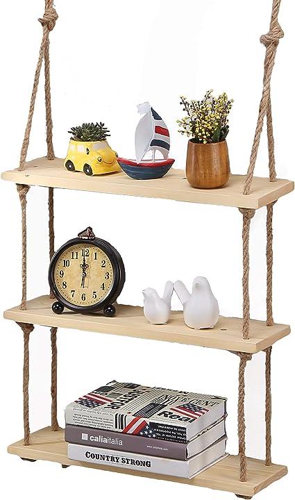 Estante colgante de madera maciza para pared con cuerdas, estilo rústico y clásico, natural, 3 Shelves