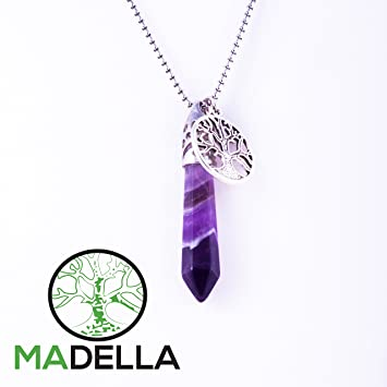 Amazon madella amethyst healing crystal and tree of life madella amethyst healing crystal and tree of life pendant necklace aloadofball Images