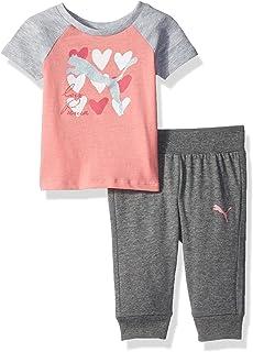 f40eacc09282b2 Amazon.com  PUMA Baby Girls  2 Piece Jersey Tee   Capri Set  Clothing