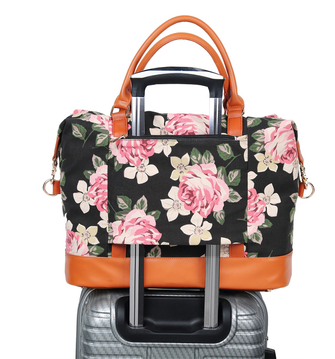 CAMTOP Women Ladies Weekender Travel Bag Canvas Overnight Carry-on Duffel Tote Luggage (Floral)