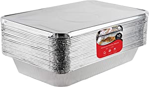 Aluminum Pans with Lids 21x13 Disposable Roasting Pans with Covers - 10 Foil Pans and 10 Foil Lids - Sturdy Catering Pans - Disposable Food Containers Great for Prepping Large Slabs of Meat