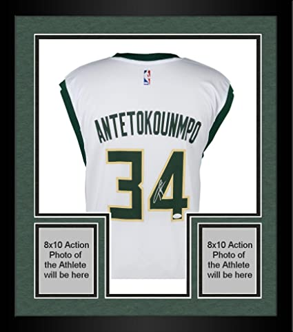 reputable site 92d99 ed01b Framed Giannis Antetokounmpo Milwaukee Bucks Autographed ...