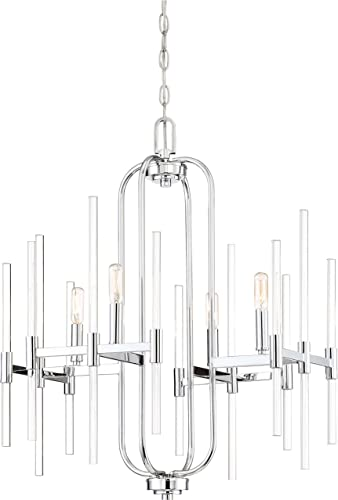 Minka Lavery Crystal Chandelier Pendant Lighting 3094-77 Pillar Dining Room Fixture