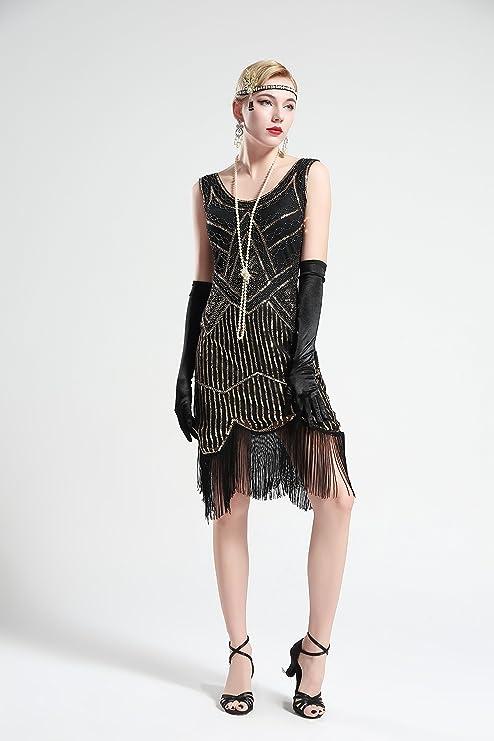 BABEYOND 1920 s Art Deco con flecos vestido de fiesta embellecido lentejuelas con cuentas vestido de fiesta trajes 20 s Vintage Great Gatsby vestido: ...