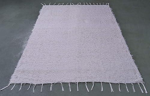 Jarapa Home Alfombra natural hecha a mano de pelo largo algodón ...