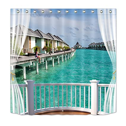 LB Fabric Shower Curtain Beach Themewith Houese Blue Sea Scene