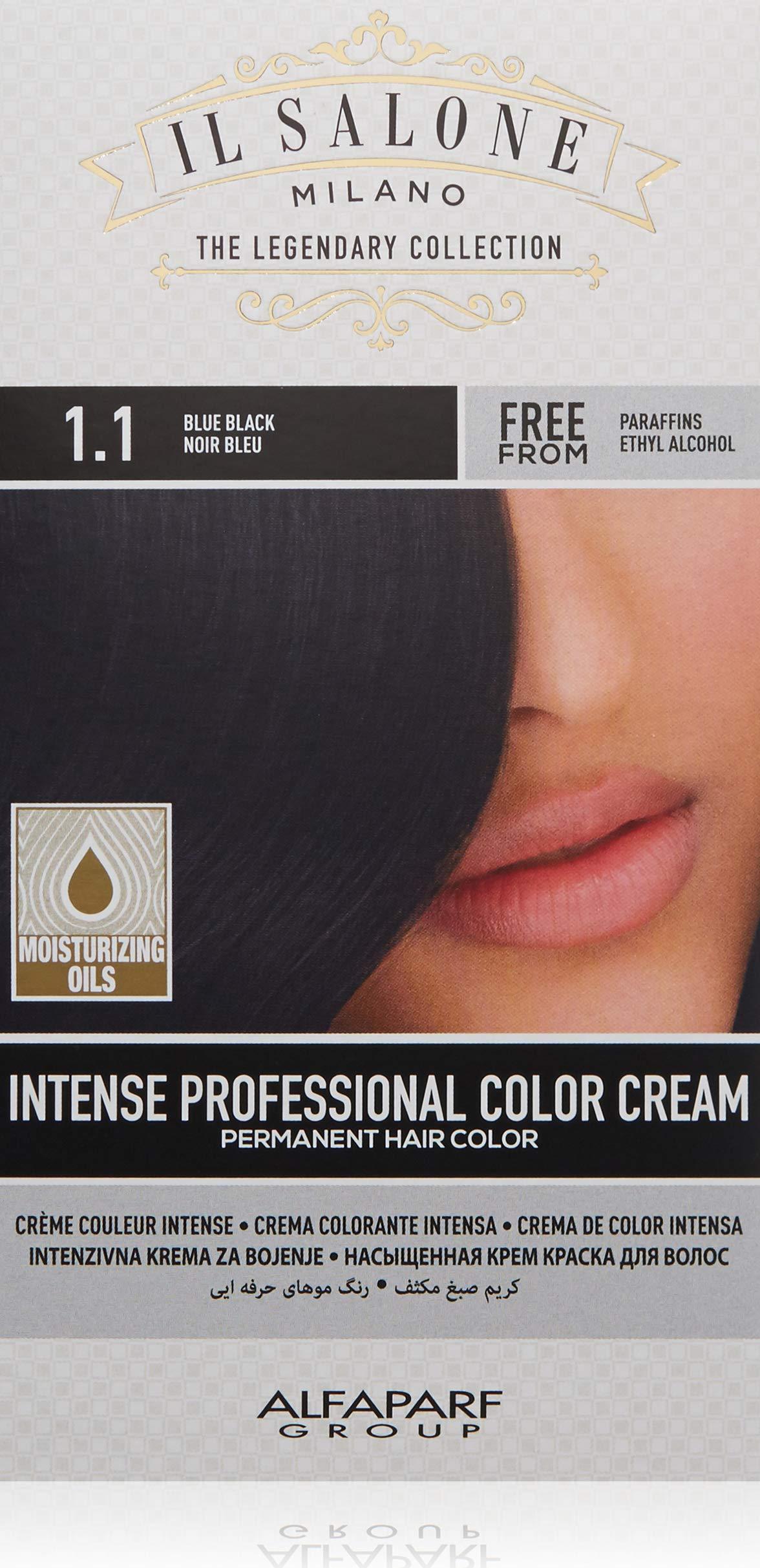 Il Salone Milano Permanent Hair Color Cream - 1.1 Blue Black Hair Dye - Professional Salon - Premium Quality - 100% Gray Coverage - Paraffin Free - Ethyl Alcohol Free - Moisturizing Oils