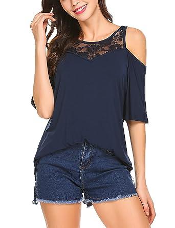 Parabler Damen Schulterfrei T-Shirt Kurzarmshirt Sommer Bluse Tunika Cut  Out Oberteil Tops mit Spitzen a541eac797
