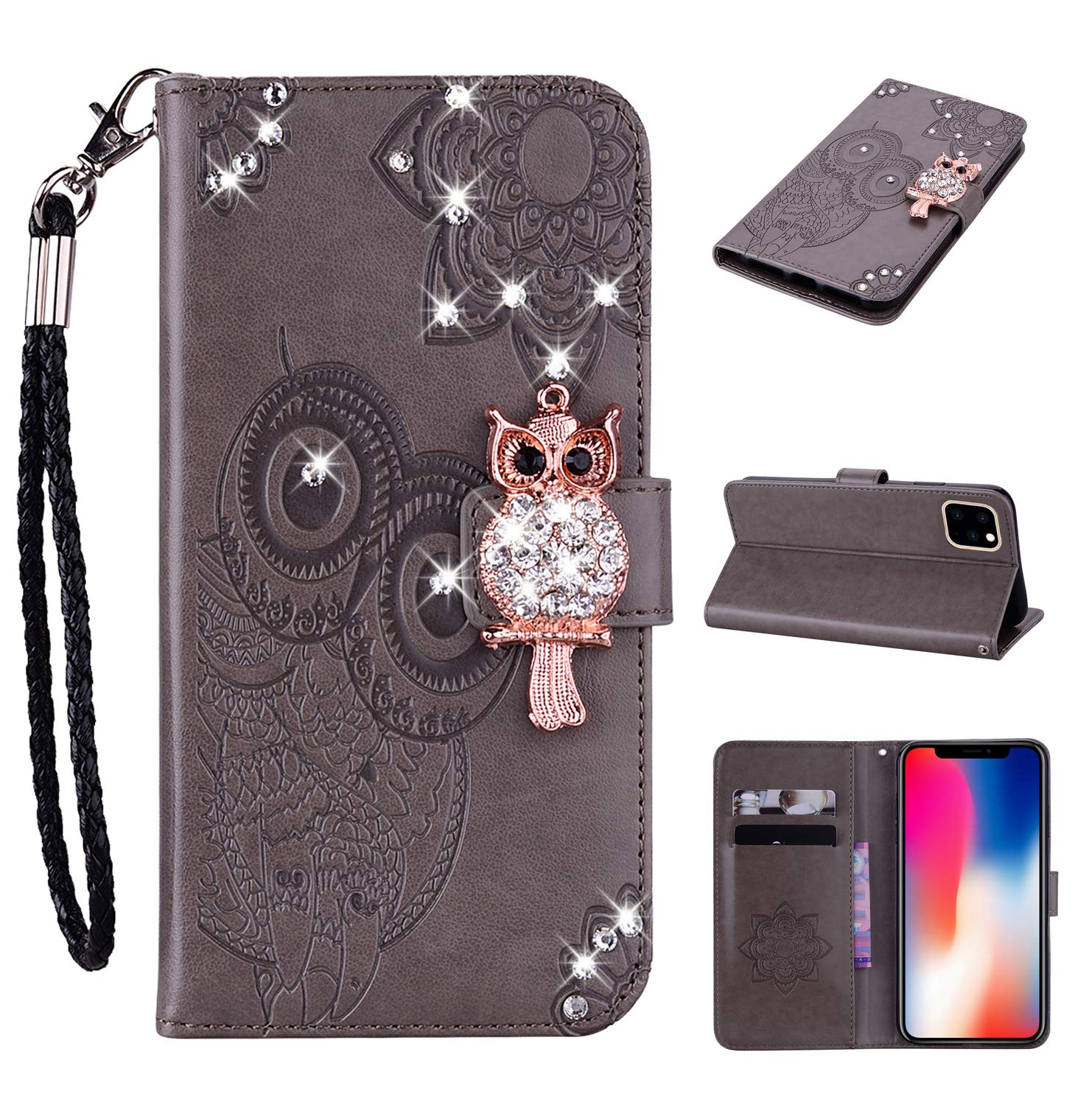 Amocase Wallet Case with 2 in 1 Stylus for iPhone 11 Pro Max 2019,3D Bling Gems Owl Magnetic Mandala Embossing Premium Strap PU Leather Card Slot Stand Case for iPhone 11 Pro Max 2019 - Gray by Amocase