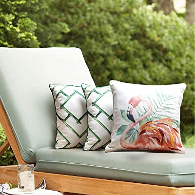TINA'S HOME Tropical Flamingo and Geometric Bamboo Embroidered Outdoor Pillowcases - 17 x 17 Inch, Coral/Green, Set of 3 : Garden & Outdoor