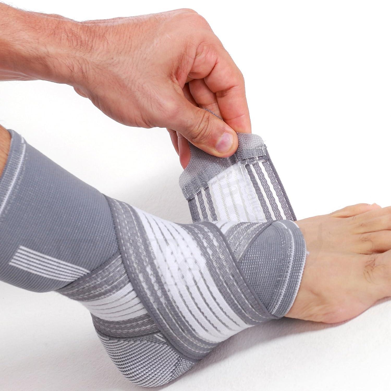 Tobillera ancha de sujeción (1 Unidad) - Tejido ligero, elástico y transpirable - Para aliviar los músculos - Tira de compresión ajustable - Marca Neotech Care - Gris (Talla M)