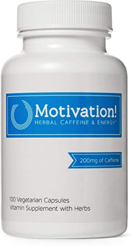 Motivation Herbal Caffeine Pills with B-Vitamin Complex for Sustained Energy Supplement Natural Guarana Seed and Green Tea Extract, Rhodiola, Ginseng 100 Capsules