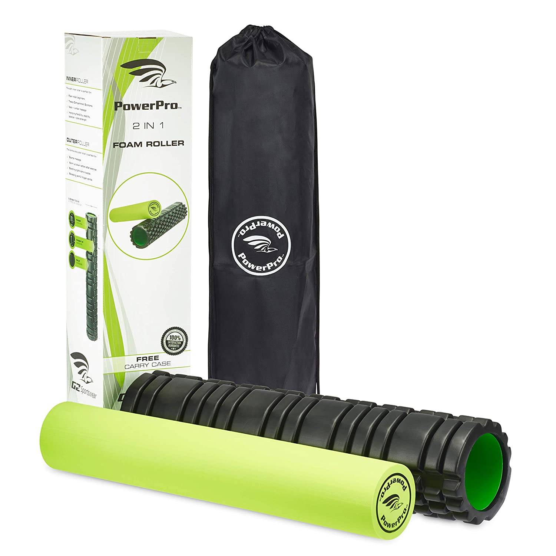 高価値セリー PowerPro 2イン1フォームローラー。 B07GNVNTHB トリガーポイント&スムースフォームローラー 2 筋肉や怪我のリハビリ、慢性背中の状態、セルライト、シンスプリント キャリーケース、乳酸&偏頭痛 2 x 電子書籍 & キャリーケース B07GNVNTHB グリーン long 24