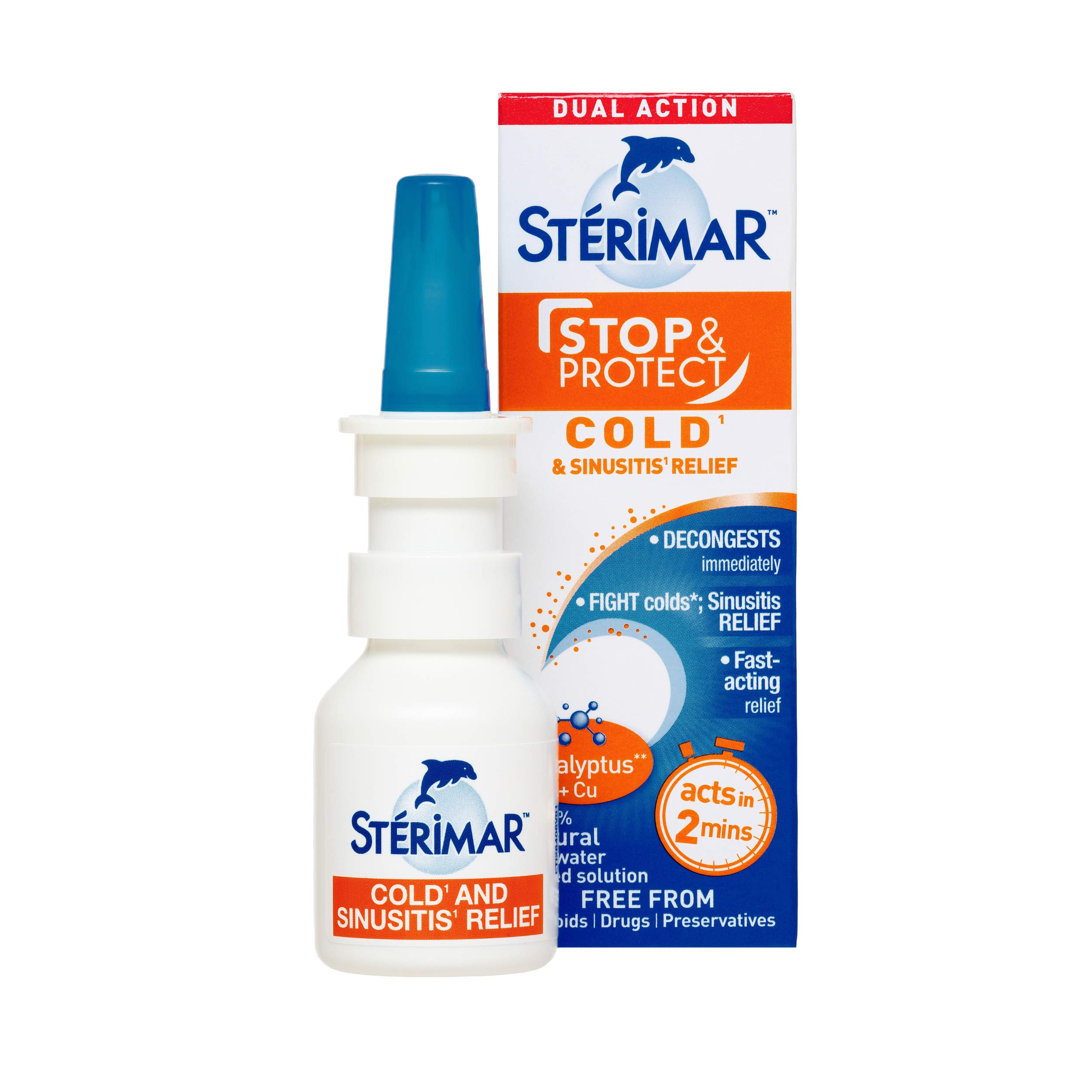 STÉRIMAR Stop & Protect Cold & Sinusitis Relief- 100% Natural Sea Water based Nasal Spray with Added Copper and Eucalyptus - 20 ml Pump