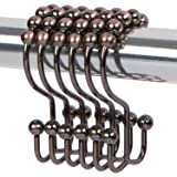 Double Shower Curtain Hooks by DOTZ Bathroom Collection. Decorative Rustproof Bronze Easy Glide Roller Shower Curtain Rings with Double Hooks. 100% Stainless Steel Brushed Bronze Rings, Set of 12