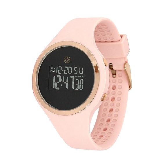 Daisy Fuentes Digital reloj de pulsera para mujer, color rosa banda de silicona, negro