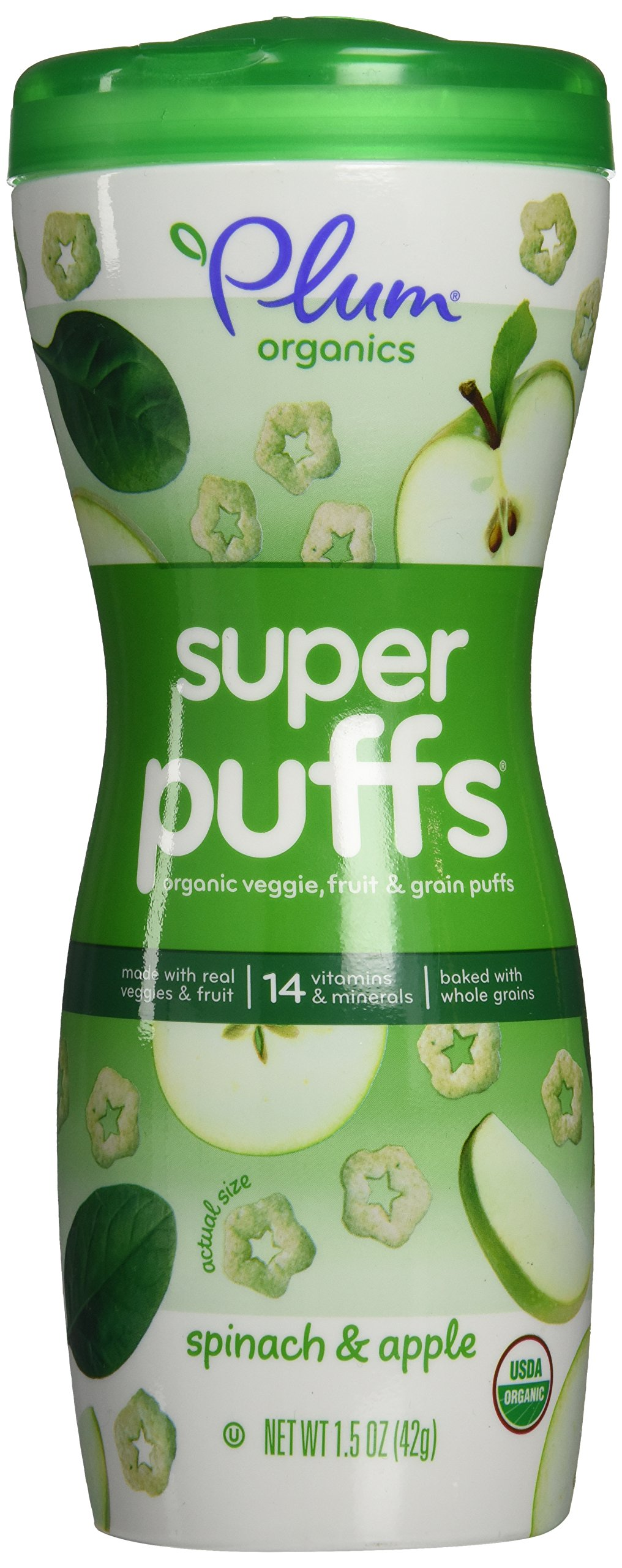 Plum Organics Super Puffs, Organic Baby Puffs, Apple with Spinach, 1.5 oz