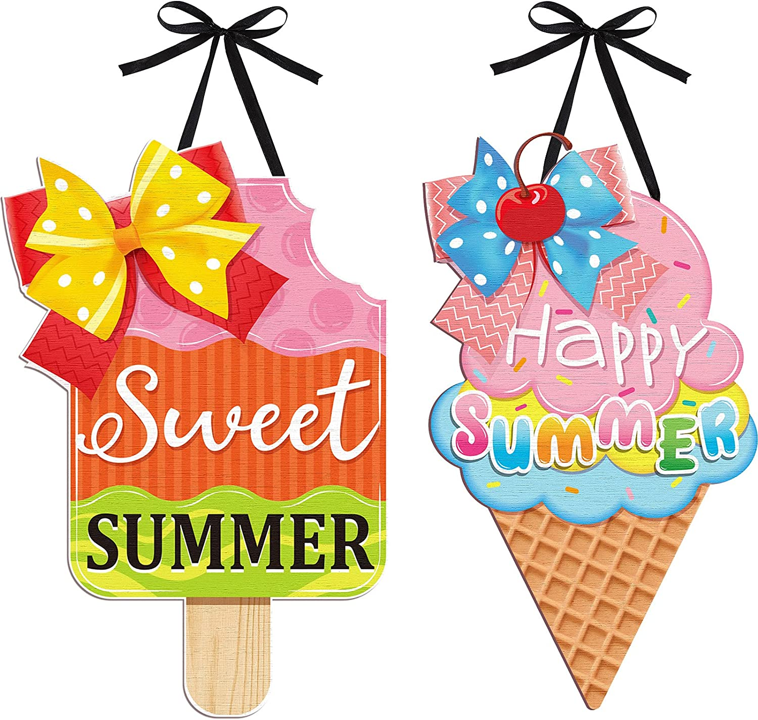 Jetec 2 Pieces Ice Cream Hanging Sign Happy Summer Wood Sign Sweet Summer Wood Ornaments Summer Welcome Sign Ice Cream Door Wood Hanging Sign for Summer Holiday Party Home Door Wall Window Decor