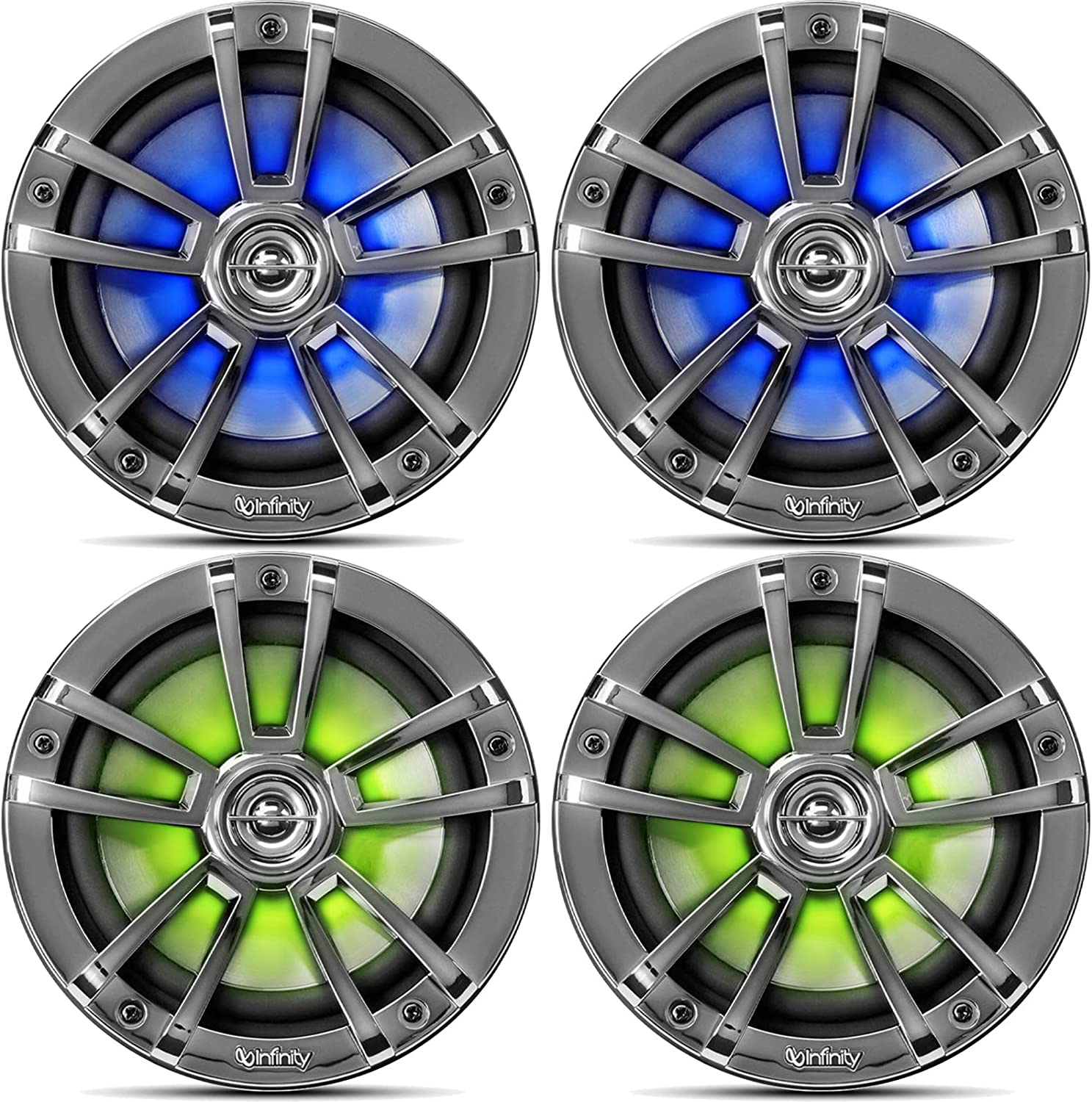 2 Pairs QTY 4 White of OEM Replacement 6.5 2-Way Coaxial Marine Audio Multi-Element Boat Speakers with Multi-Color RGB Lighting Option
