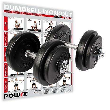 POWRX Mancuernas 20 kg Set (2 x 10 kg) + PDF Workout (Negro